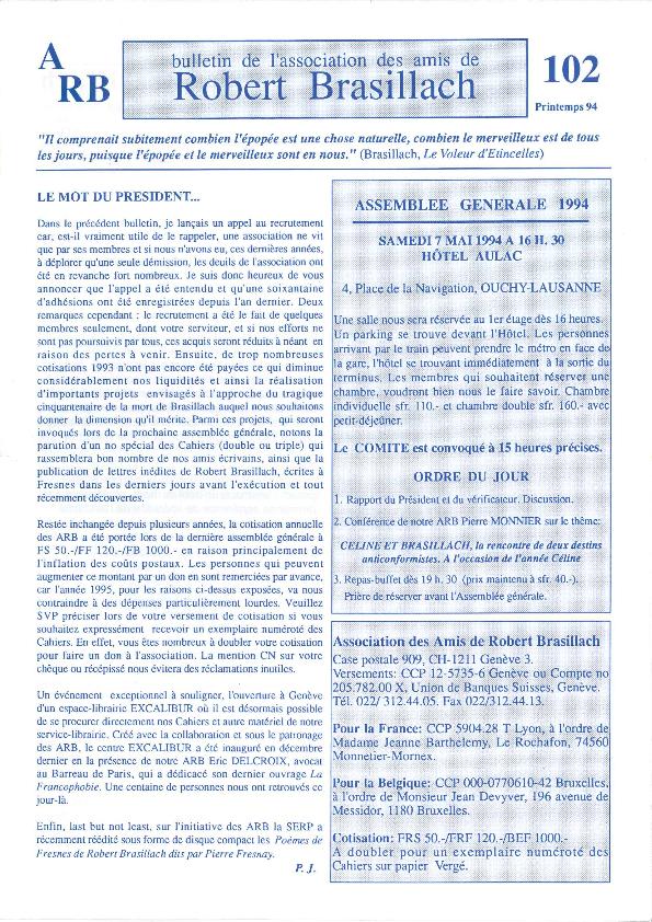 Les Amis de Robert Brasillach - Bulletin 102-thumbnail