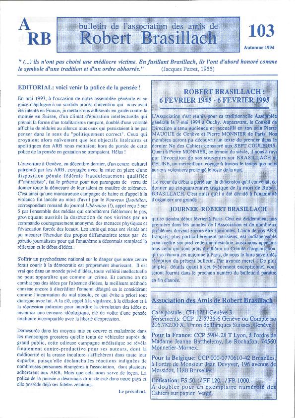 Amis de Robert Brasillach - Bulletin 103-thumbnail