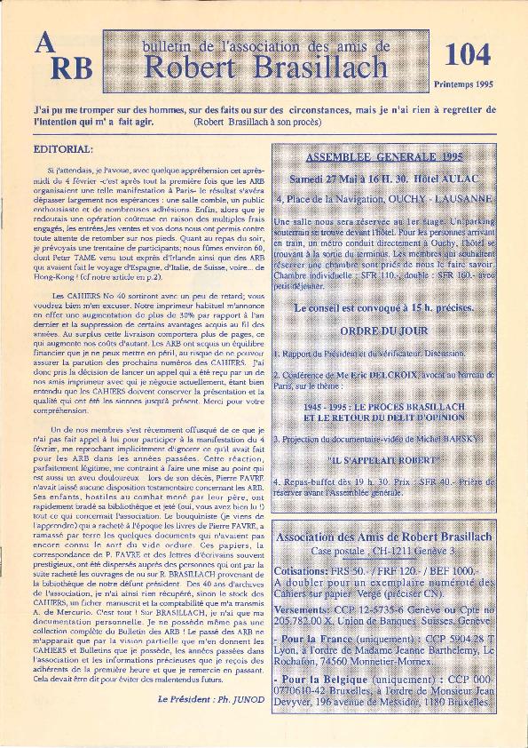 Les Amis de Robert Brasillach - Bulletin 104