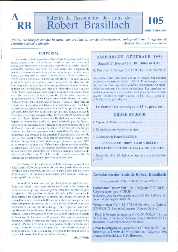 Les Amis de Robert Brasillach - Bulletin 105