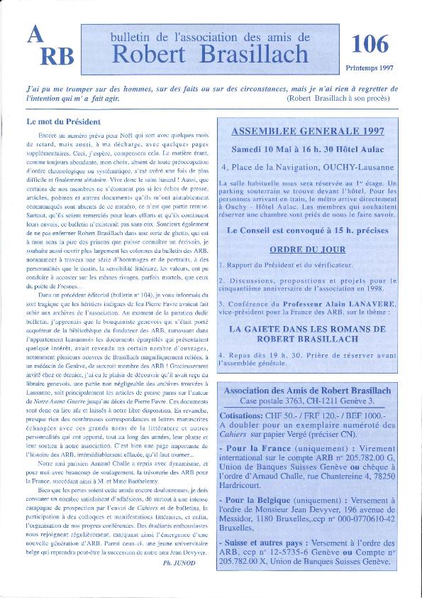 Les Amis de Robert Brasillach - Bulletin 106