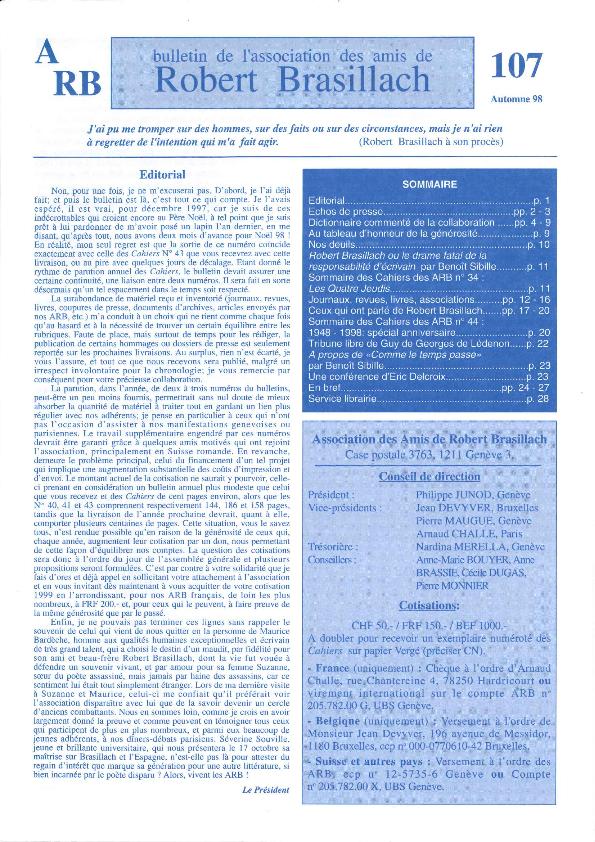 Les Amis de Robert Brasillach - Bulletin 107