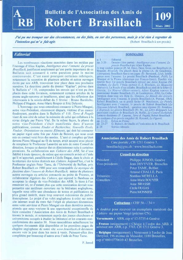 Les Amis de Robert Brasillach - Bulletin 109