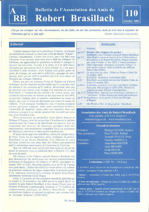 Les Amis de Robert Brasillach - Bulletin 110