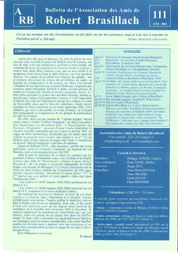 Les Amis de Robert Brasillach - Bulletin 111