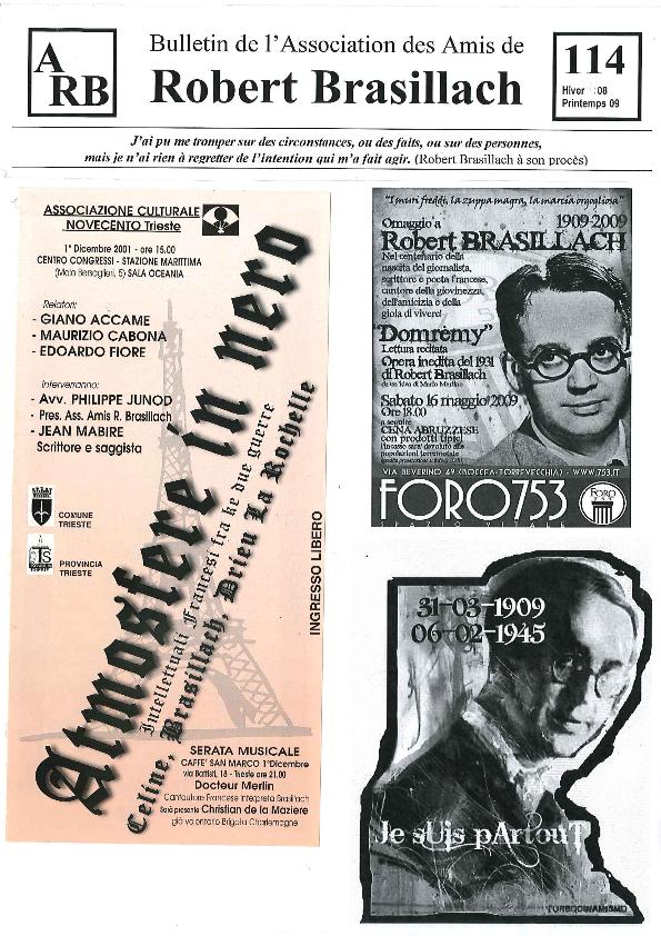 Les Amis de Robert Brasillach - Bulletin 114