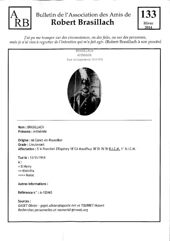 Bulletin de l'association des Amis de Robert Brasillach - 133