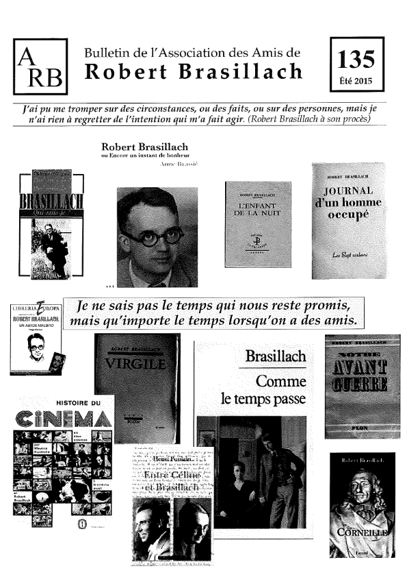 Bulletin de l'association des Amis de Robert Brasillach - 135