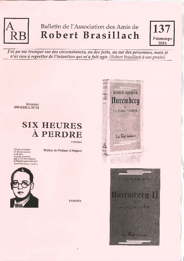 Bulletin de l'association des Amis de Robert Brasillach - 137