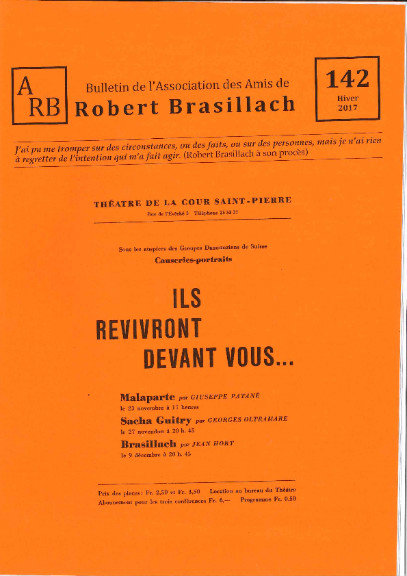 Bulletin de l'association des Amis de Robert Brasillach - 142