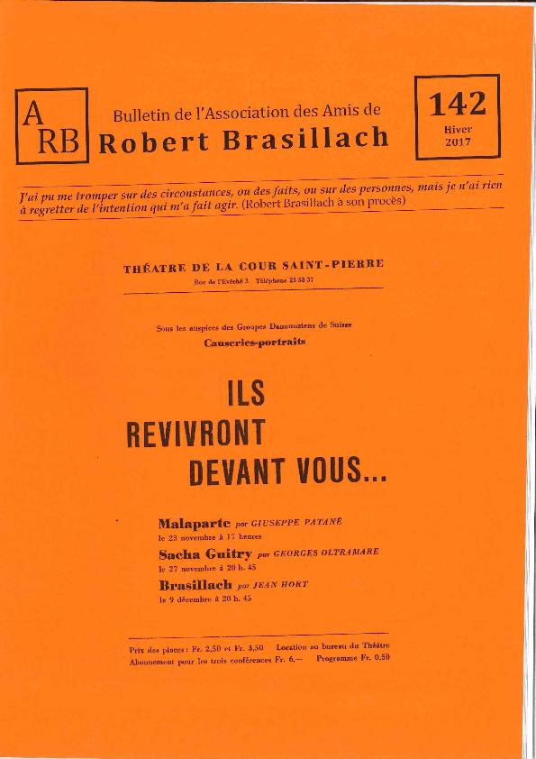Bulletin de l'association des Amis de Robert Brasillach - 142